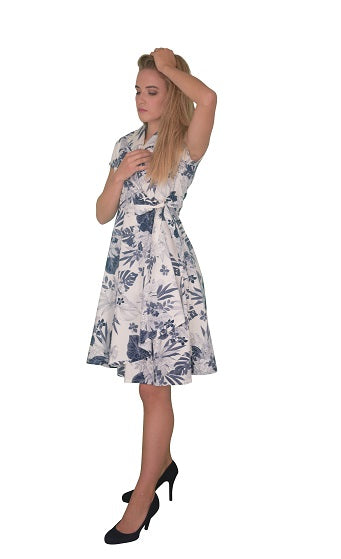 Flared A-Line Wrap Dress, Cap Sleeves, Botanic Print in White-Blue (NEW!)