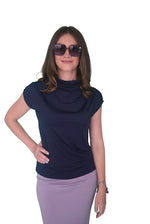 High Neck Cap Sleeve Top (NEW!) - Navy