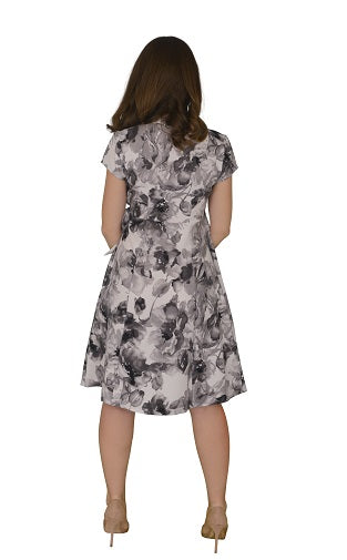 Flared A-Line Wrap Dress, Cap Sleeves, Flowery Print in White-Grey (NEW!)