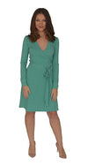 A-Line Wrap Dress,Full sleeve - Mint Green Small Polka Dot