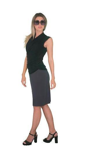 Knee length skirt, Dk Grey