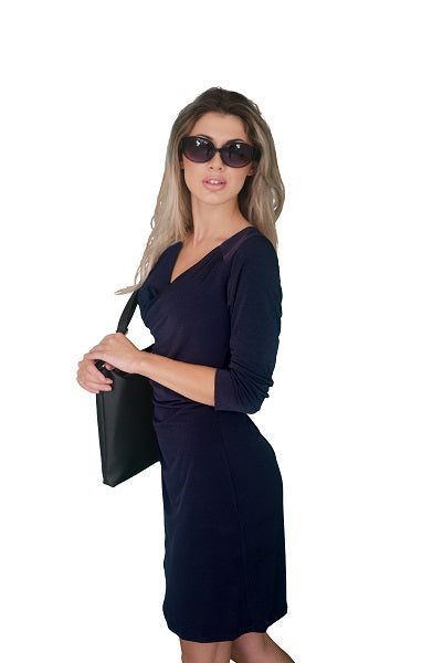 Faux Wrap Dress with Long (3/4) Sleeves, Navy Blue (NEW)!