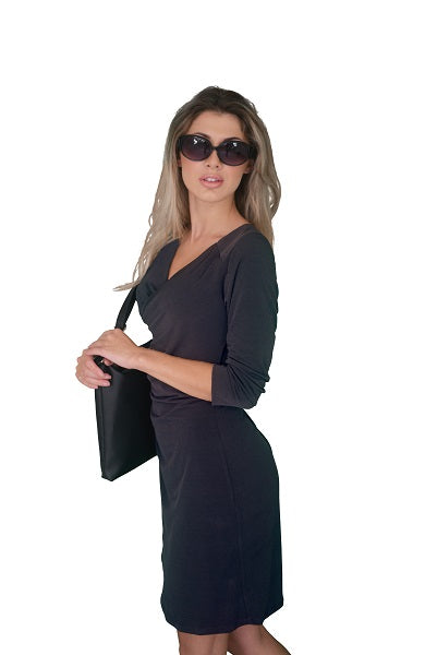 Faux Wrap Dress with Long (3/4) Sleeves, Dark Grey (NEW)!