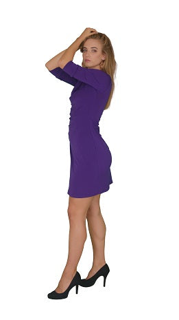 Faux Wrap Dress, Purple - 3/4th Sleeves