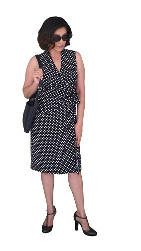 Classic Fit Wrap Dress (Small) Polka Dot, Black and White