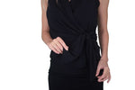Sleeve Less Fan Belt Multi Way Faux Wrap Top - Black (NEW!)