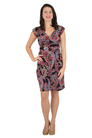 Boat Neck Faux Wrap Dress, Pink and Purple Print