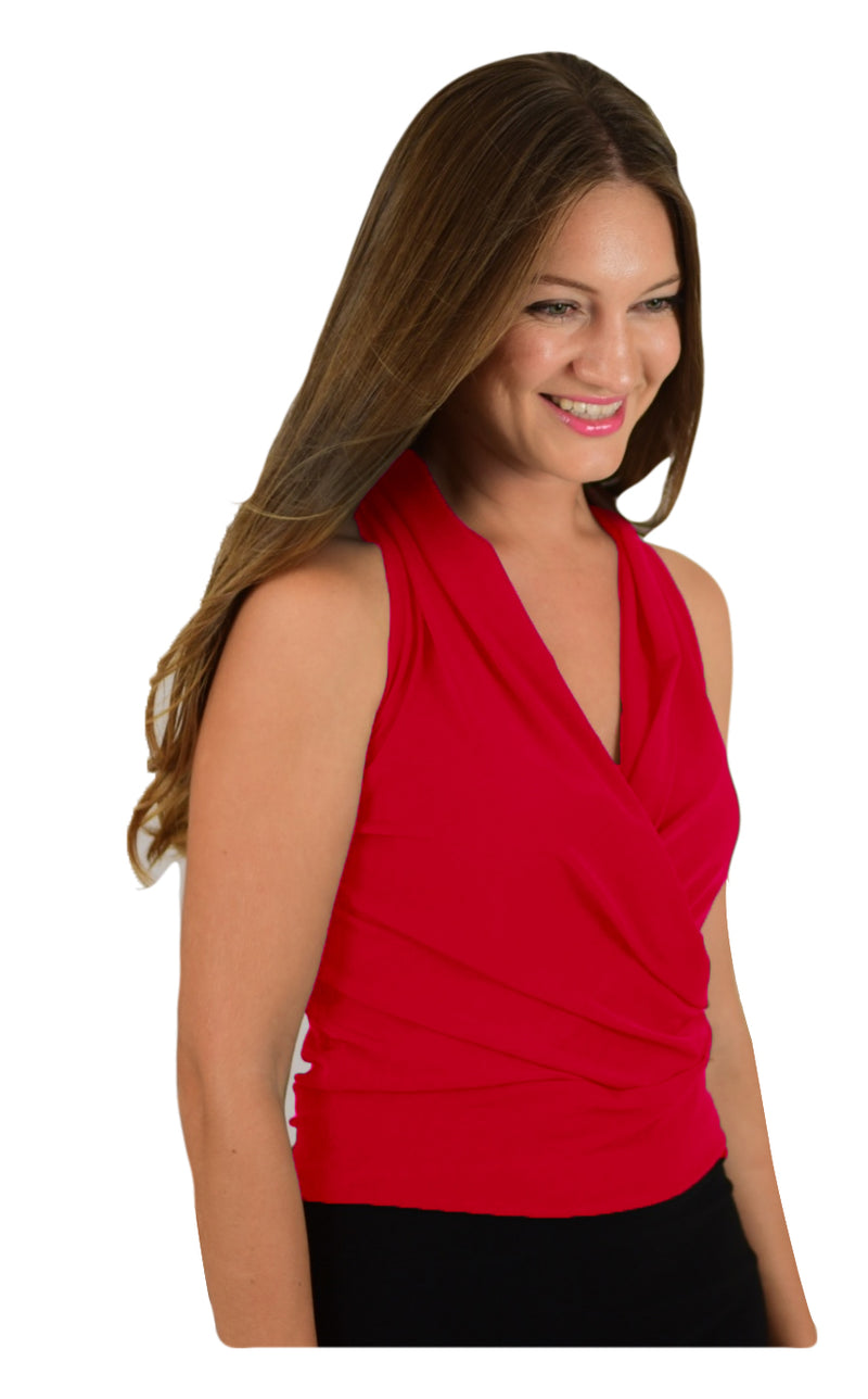 Signature  Sleeve Less Faux Wrap Top - Red (NEW!)