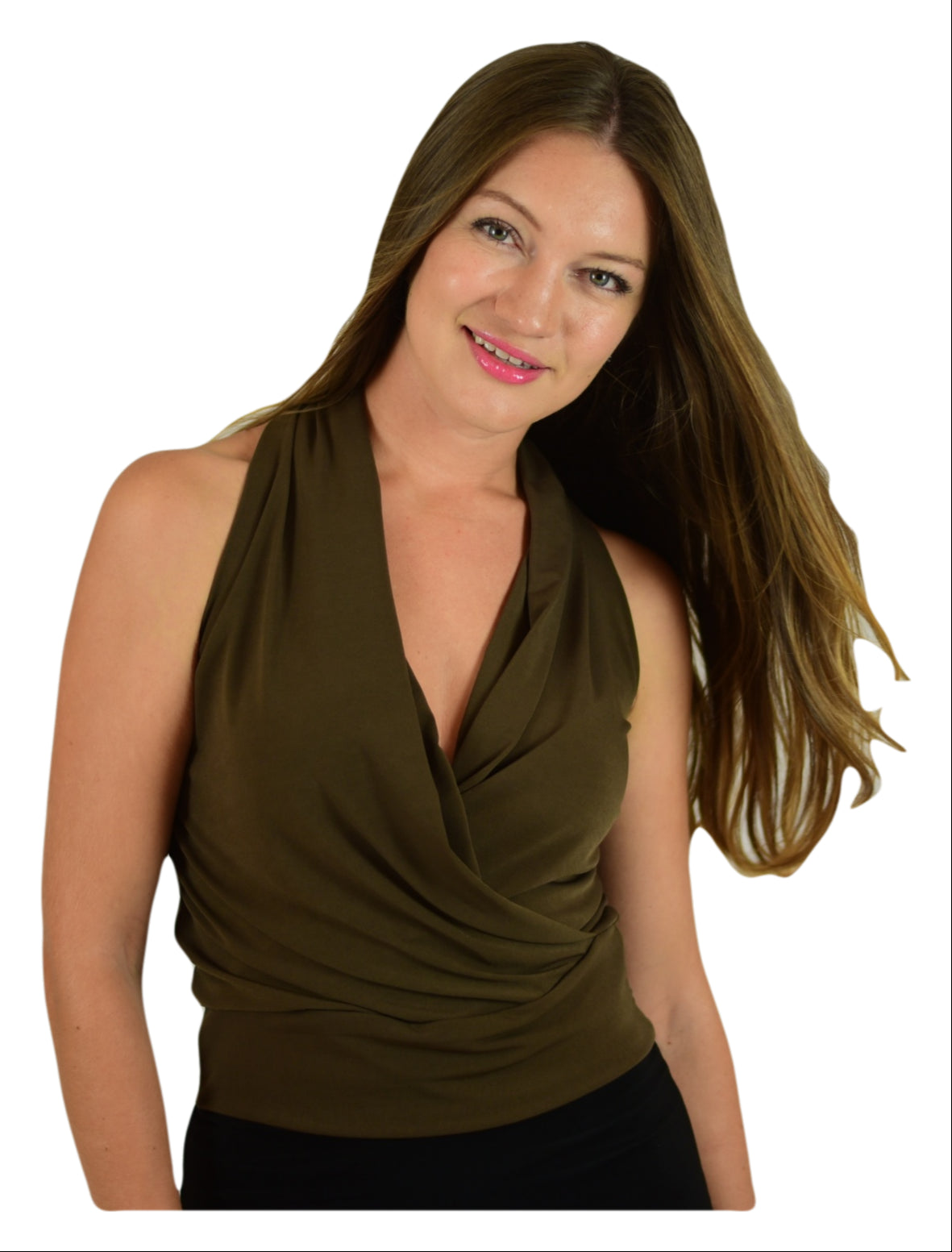 Signature  Sleeve Less Faux Wrap Top - Olive (NEW!)