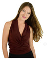 Signature  Sleeve Less Faux Wrap Top - Chocolate