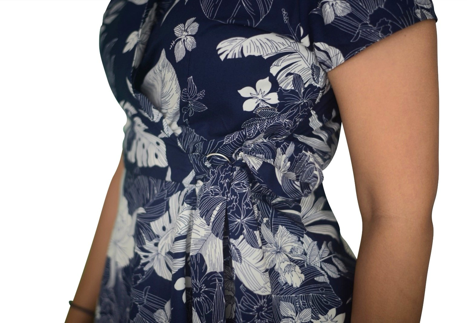 Flared A-Line Wrap Dress, Cap Sleeves, Flowery Print in Navy-White (NEW!)