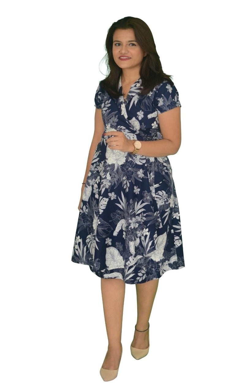 Flared A-Line Wrap Dress, Cap Sleeves, Botanic Print in Blue-White (NEW!)