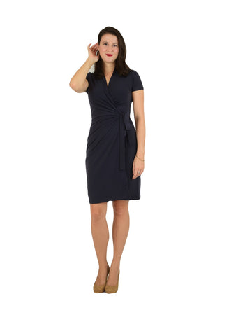 Classic Fit Wrap Dress, Cap Sleeve, Grey