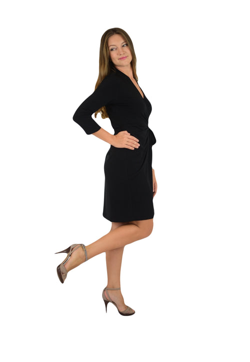 Classic Fit Wrap Dress, 3/4 Sleeves, Black