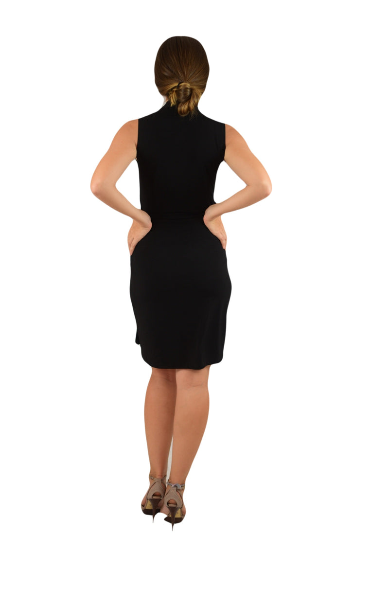 Classic Fit Wrap Dress, Sleeve Less, Black