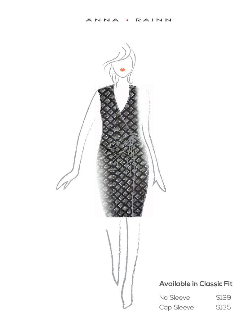 Classic Fit Wrap Dress, Sleeve Less , Black & White Diamond Print