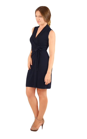 Classic Fit Wrap Dress, Cap Sleeve, Navy