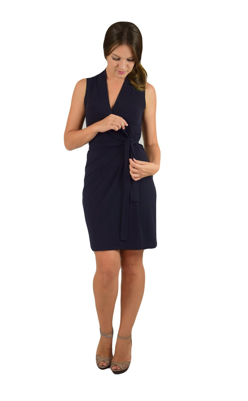 Classic Fit Wrap Dress, Sleeve Less Navy
