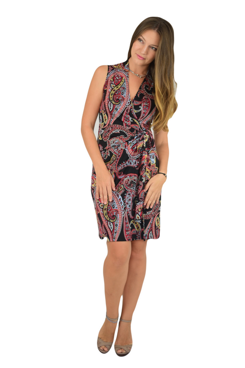 Classic Fit Wrap Dress, Sleeve Less, Black Paisley