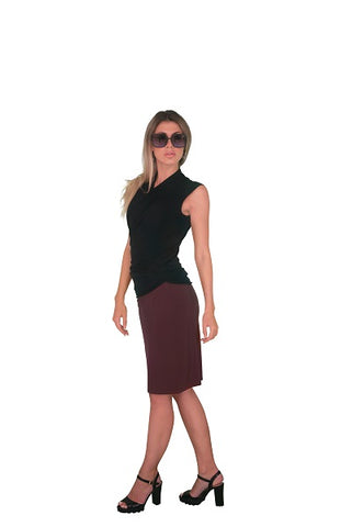 Faux Wrap Dress with Long (3/4) Sleeves, Dark Red (NEW)!