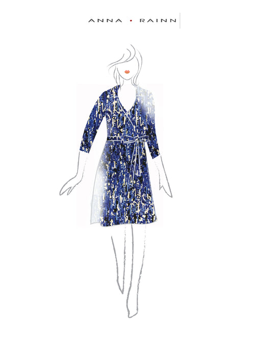 A-Line Wrap Dress, Three-Quarter Sleeve, with Collar, Blue Matrix