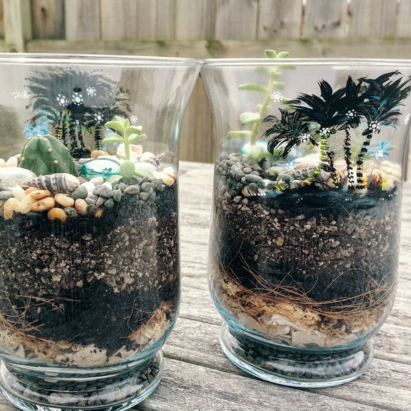 Hurricane Glass Terrariums with Hand-painted Coconut Trees