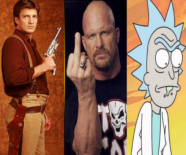Mal, Rick and Stone Cold - TVs Greatest Rebels.