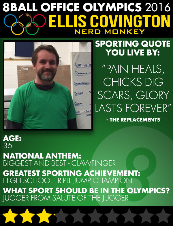 The 8ball Office Olympics: Meet the Competitors - Ellis