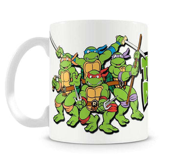 An officially licensed TMNT mug featuring the original crew and the slogan Turtle Power.