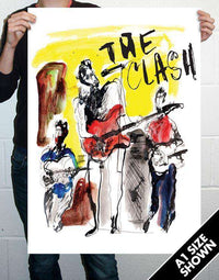 The Clash - Ray Lowry Poster Sized Art Print - Band on Stage 1