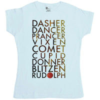 Christmas Women's T Shirt - Reindeer Names