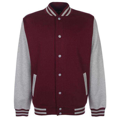 Unisex Varsity Jacket - Burgundy And Heather Grey