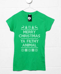 Merry Christmas Ya Filthy Animal - Knitted Style Womens T Shirt