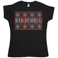 Knitted Jumper Style Women's T Shirt - Bah Humbug
