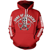 Sons Of Anarchy Mens Hoody - Red Chain Logo