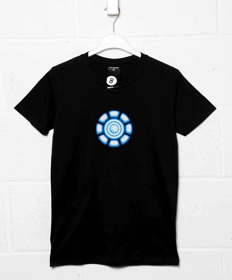 iron man t shirt tony stark power coil chest 8ball t. Black Bedroom Furniture Sets. Home Design Ideas