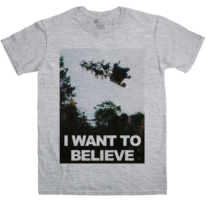 716168010 Mens Christmas T Shirt - I Want To Believe | 8Ball T Shirts
