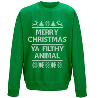 Christmas Sweatshirt - Merry Christmas Ya Filthy Animal