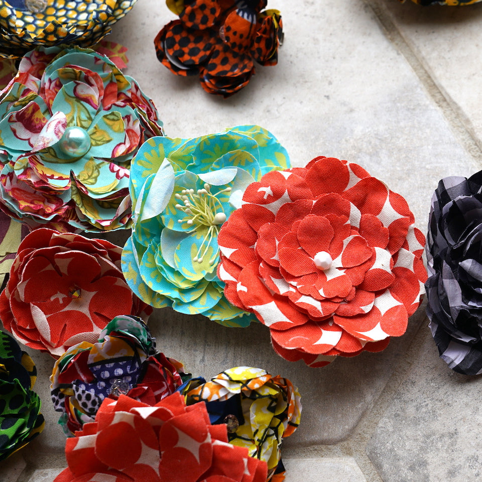Patterned Flower Hair Clips