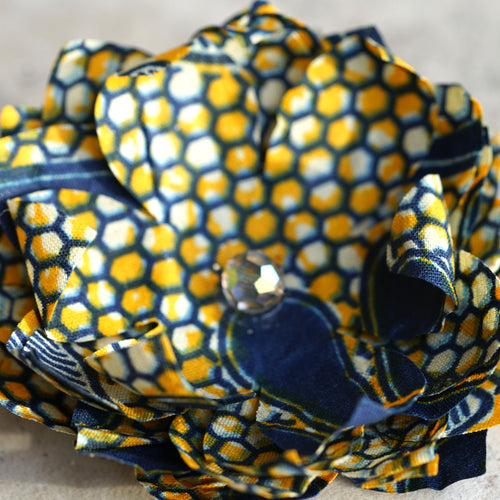 Blue, Yellow, and White African Print Silk Bloom Hair Flower