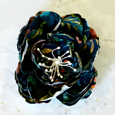 Black Botanical Print Cotton Camellia Hair Flower