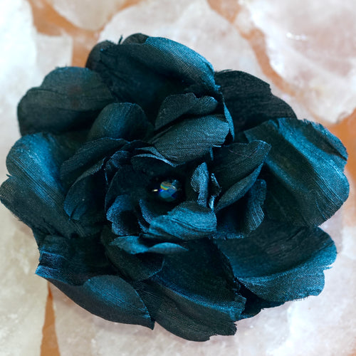 Elegant Black Silk Camellia Hair Flower