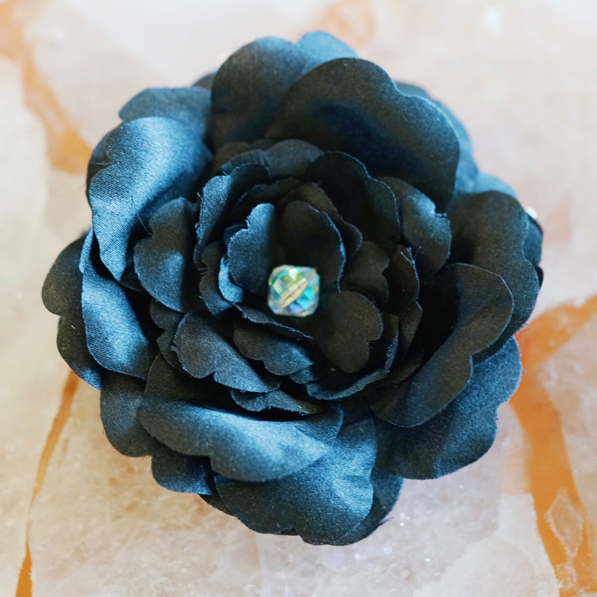 Black Silk Charmeuse Camellia Hair Flower