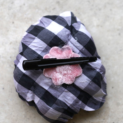 Black and White Plaid flower clip