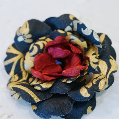 Black, Red and Gold Premium Cotton Camellia Hair Flower