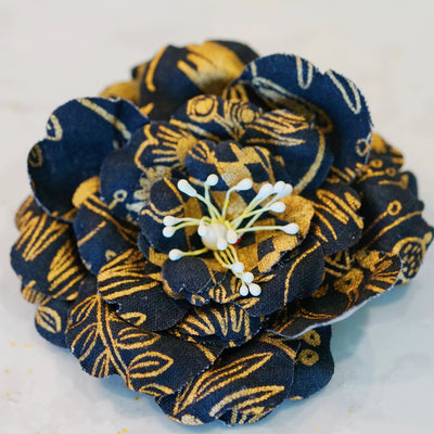 Black and Gold Alice in Wonderland Camellia Hair Flower