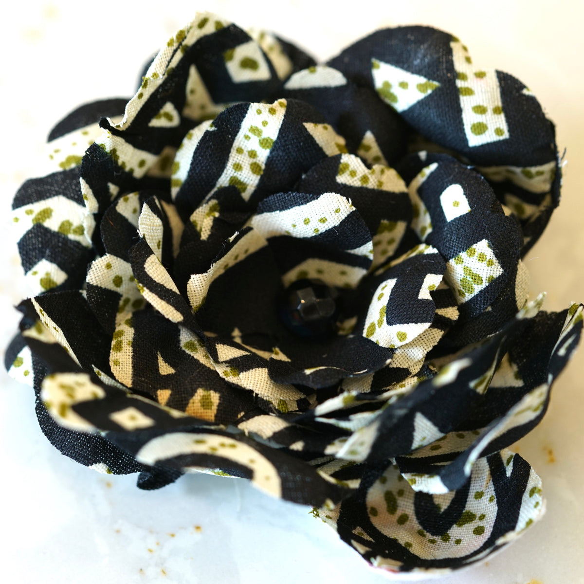 Black and White African Cotton Print Camellia