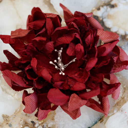 Deep Blood Red Dahlia Silk Hair Flower