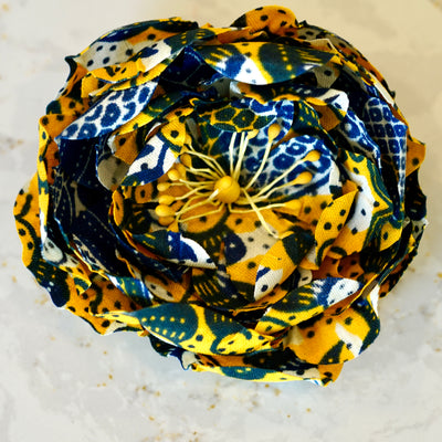 Blue, Yellow, & White African Print Bloom Hair Flower