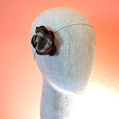 Burgundy and Gray Silk Blossom Hair Clip